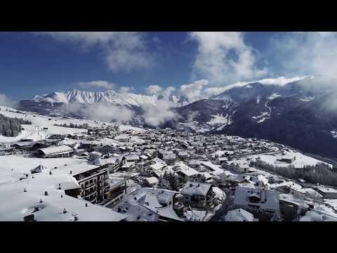 Drohnenflug über die Dörfer von Serfaus-Fiss-Ladis im März 2019