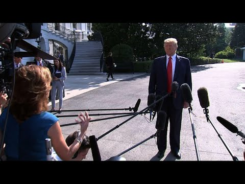 """President Donald Trump is defending his incendiary rhetoric in the wake of two mass shootings. The Republican president says, """"No, I don't think my rhetoric has at all."""" He claims his rhetoric """"brings people together."""" (Aug. 7)"""