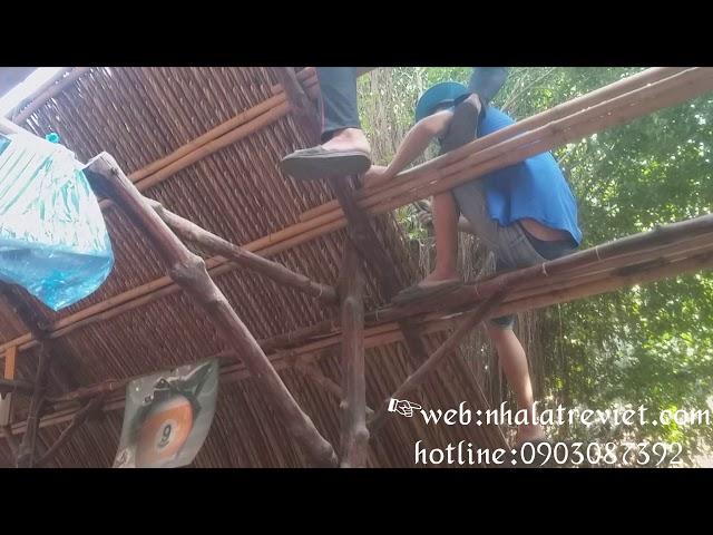 Thi công lợp lá dừa (lá xé) #lá_dừa_bình_dương