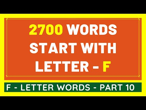 2700 Words That Start With F #10 | List of 2700 Words Beginning With F Letter [VIDEO]