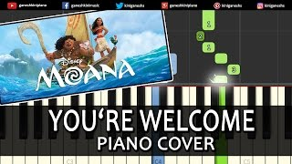 Dwayne Johnson You're Welcome Moana|Song|Piano Chords Tutorial Lesson Instrumental Karaoke By Ganesh