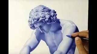 Drawing Realistic Statue With Ballpoint Pen