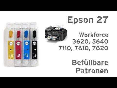 Epson 27 befüllbare Patronen Workforce 3620, 3640, 7110,  7610, 7620