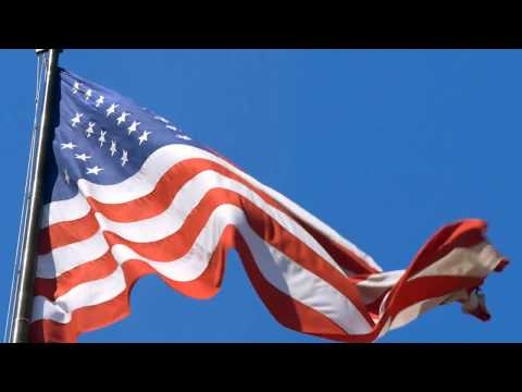 [10 Hours] American Flag in Blue Sky w Light Wind - Video & Audio [1080HD] SlowTV