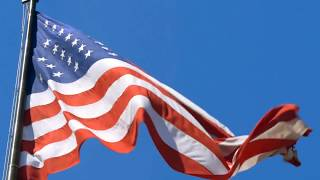 [10 Hours] American Flag In Blue Sky W/ Light Wind - Video & Audio [1080HD] SlowTV