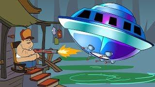 АТАКА на БОЛОТЕ Сложный БОСС Огромная Летающая тарелка НАПАДАЕТ Мультик Игра для детей Swamp Attack