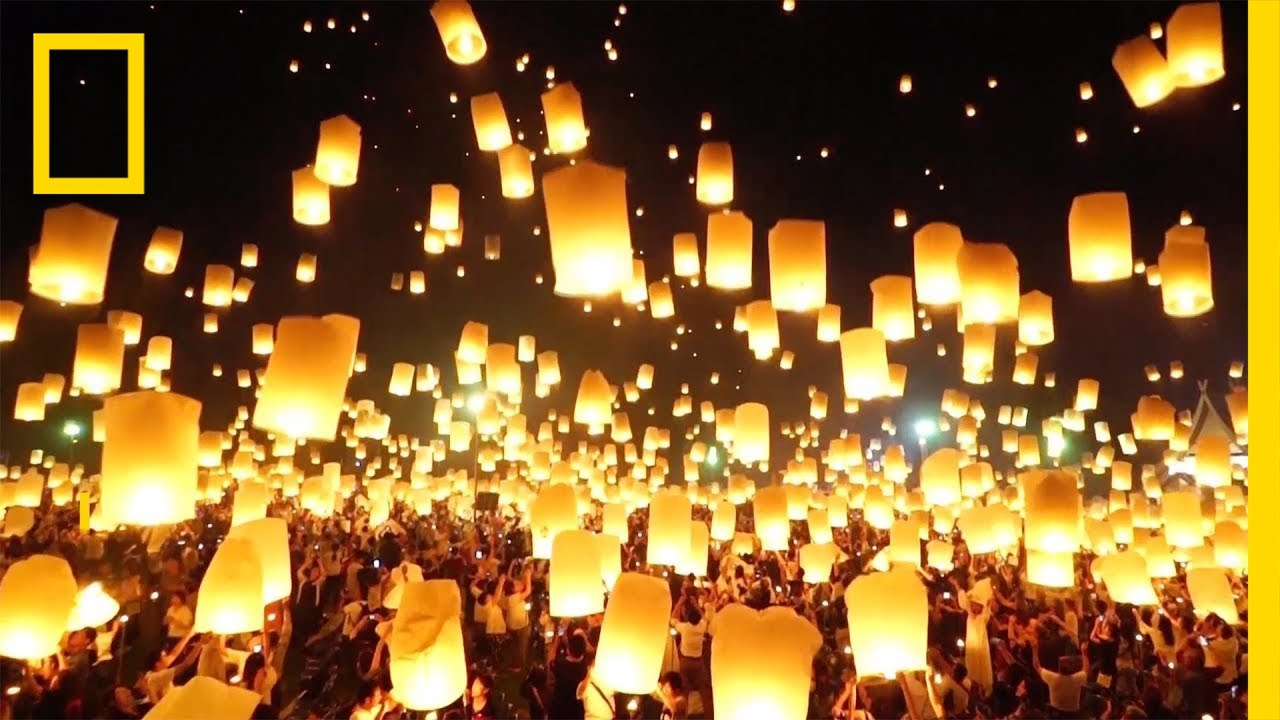 Watch as Lanterns Fill the Sky in Thailand   National Geographic thumbnail