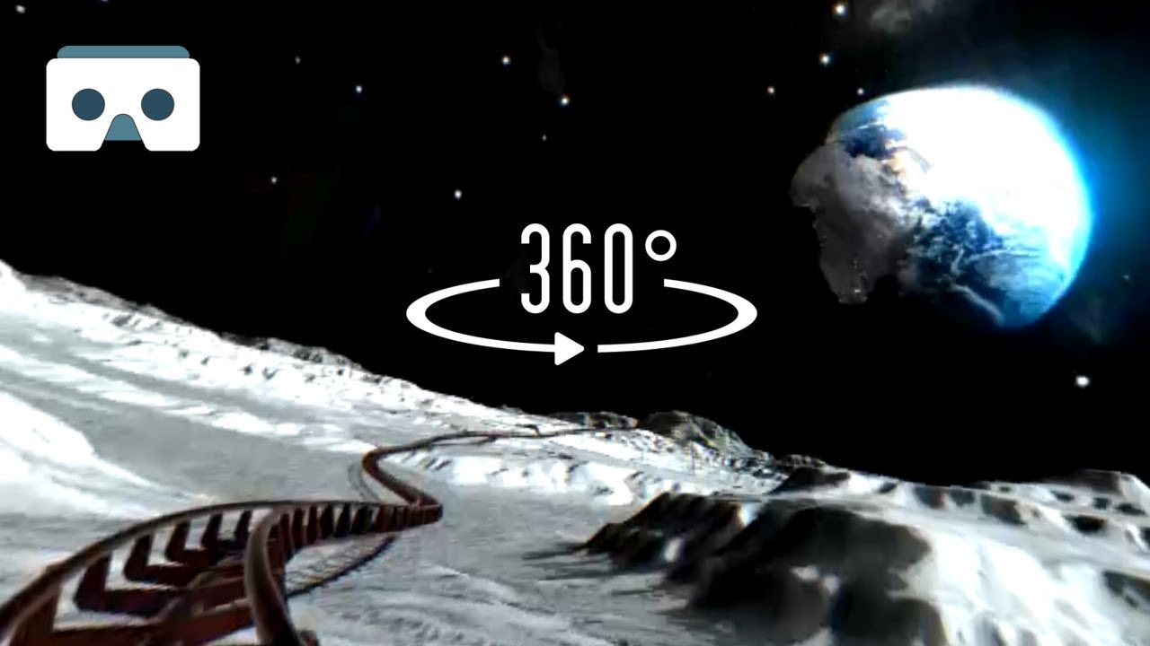 360 VR Roller Coaster on the Moon: Virtual Reality 3D video