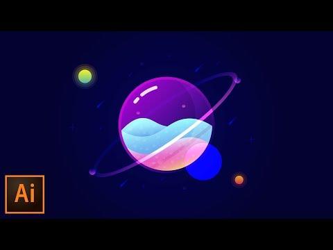 illustrator tutorials vector glass planet by tutvid