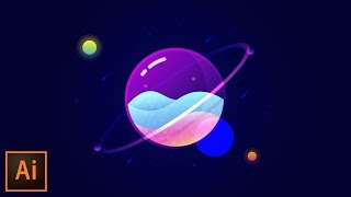 Glass Planet Vector Illustration – Adobe Illustrator Tutorial