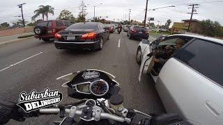 Car Driver Opens Door on Passing Motorcyclists