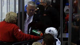 Nazem Kadri slams stick in penalty box, hits NHL official