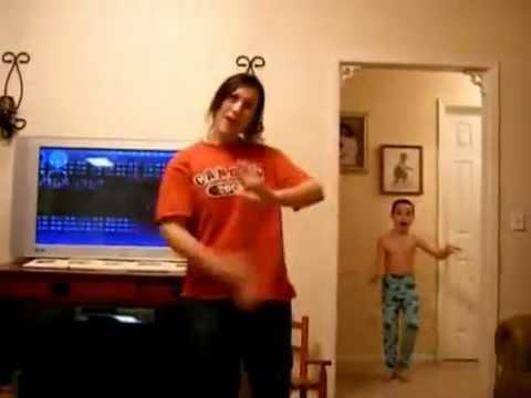 He's Behind You! - Funny boy dancing behind sister