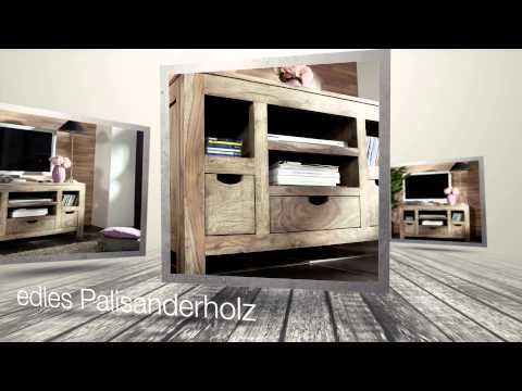 Lowboard aus Sheesham / Palisander der Serie NATURE GREY von http://www.massivmoebel24.de
