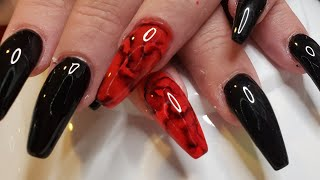 Red Black Marble Nail | Red Black Nails | Acrylic Nail Tutorial | Acrylic Fill In