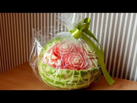 How to make a watermelon carving   Art with fruit and vegetables