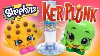 Apple Blossom VS Kooky Cookie Play KerPlunk Game! Shopkins Blind Bag, Slime, and Hatchimals