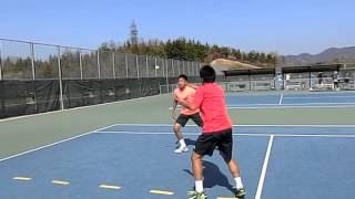 テニスボールでフットワークトレ