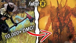 Fallout 76 | 10,000+ Weapon Damage Build VS. Scorchbeast Queen! (Fallout 76 Best Builds)