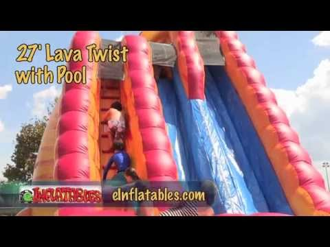 27 Foot 'Lava Twist' Inflatable Water Slide with Pool | eInflatables