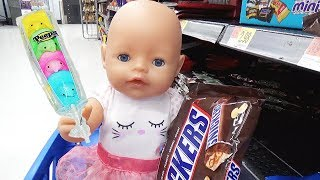 Doing Shopping with Baby Doll at the Supermarket for Easter Candy Eggs