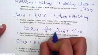 Writing Skeleton Equations Homework Check