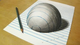 Trick Art on Line Paper  - Drawing Half Sphere - Optical Illusion