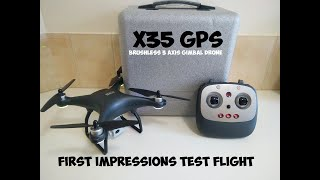 X35 5G Wifi GPS Drone With 3 Axis Gimbal 4K HD Camera First Look Flight Test