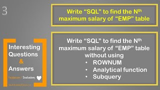 Oracle interesting questions and answers | SQL to find the N th maximum salary