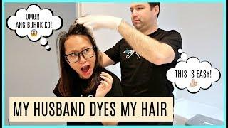 MY HUSBAND DYES MY HAIR + Q&A (UUWI NG PILIPINAS? + FIRST FILIPINA GF BA NIYA AKO?) 😱❤️ | rhaze