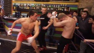 Крутой бой двух бойцов в баре Шерегеша
