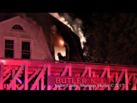 Butler NJ Fire Department Working House Fire 4 Bartholdi Ave Dec 12th 2017