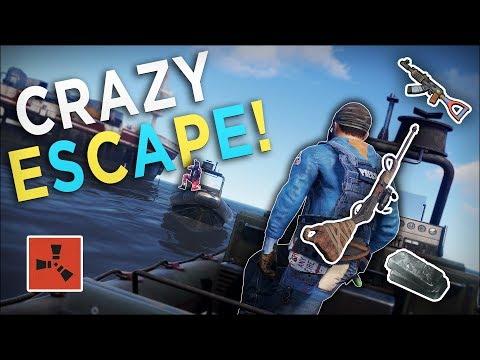 The GREATEST ESCAPE from the CARGO SHIP AMBUSH! - Rust Solo Survival #3