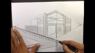 ARCHITECTURAL │How To Draw A Simple Modern House In 2 Point Perspective #8