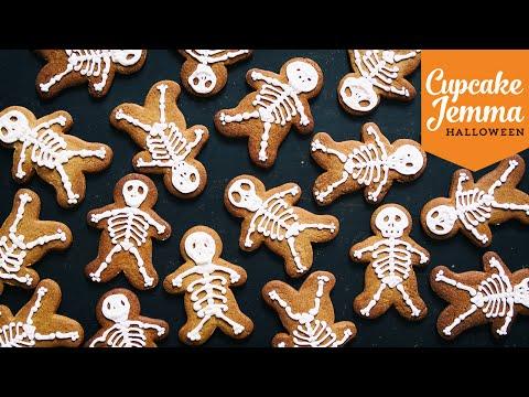 Halloween Special Pt.1 | Skeleton Gingerbread Cookie Recipe | Cupcake Jemma