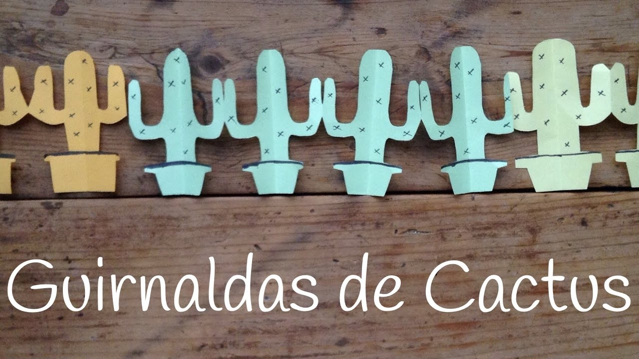 Guirnalda de cactus de papel | Kirigami para niños paso a paso