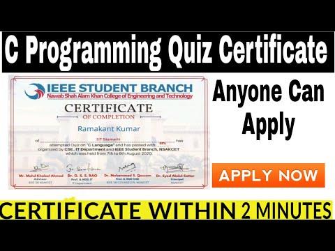 Free certificate Quiz on C Programming Language by IEEE    Free ...