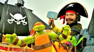 Игры для детей. Черепашки Ниндзя и Пираты на острове Хэллоуина!