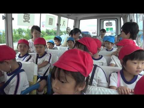 「お泊まり保育 車中 赤バス」(笠間 友部 ともべ幼稚園 子育て情報)