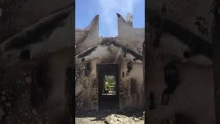Historic homestead gutter by fire