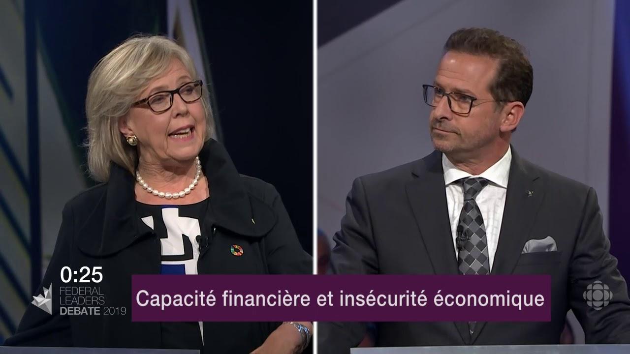 Elizabeth May et Yves-François Blanchet débattent sur l'endettement et les finances publiques