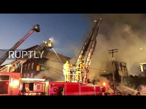 USA: Massive fire causes building collapse in New Jersey
