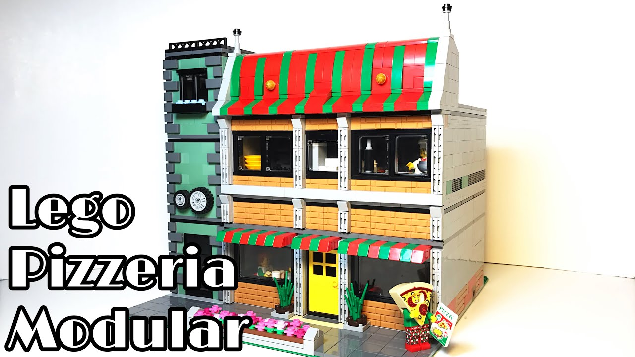 Lego PIZZERIA and MOTORCYCLE REPAIR SHOP Modular Building MOC