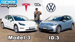 Welcher ist besser? Tesla Model 3 vs. VW ID.3 - Kampf der Elektro-Kompakten! Vergleich | Urteil