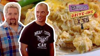Guy Fieri And Matthew McConaughey Taste A Cheesy Tex-Mex Casserole On #DDD   Food Network