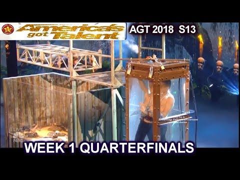 Lord Nil Escape Artist and RATTLE SNAKES DIVIDED JUDGES Quarterfinals 1 America's Got Talent 2018 AGT (видео)