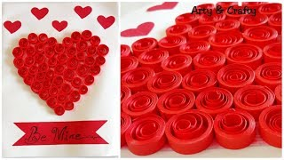 DIY Easy Valentine Card/Quilling Heart/How To Make Valentine Greeting Card/Handmade Card