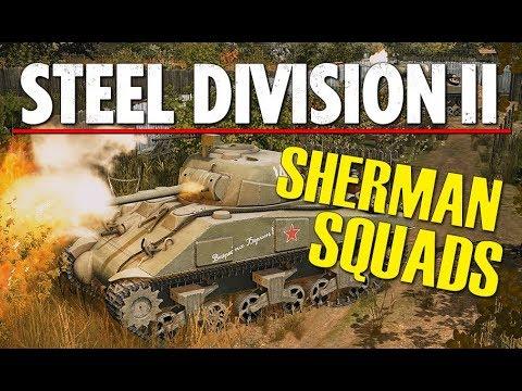 SHERMAN SQUADS! Steel Division 2 Beta Breakthrough Gameplay (Slutsk, 4v4)