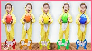 Learning colors with balls, Five little babies jumping on the bed song, colors
