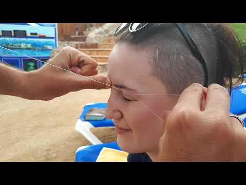 Эпиляция ниткой как делать видео обучение   Удаление волос тридинг Египет шарм эль шейх 2018